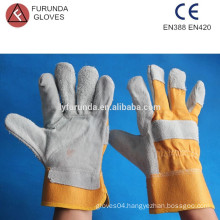 10.5 inches yellow cotton back with safety cuff men's split leather working gloves