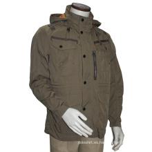 Casual ajuste relajado de algodón / chaqueta de capucha de poliéster y Outcoat de los hombres