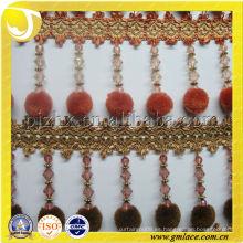 Naranja Pompom guarniciones para las cortinas, cubierta de la silla, marco de la foto, almohada, paño de la tabla Pompom cortina franja