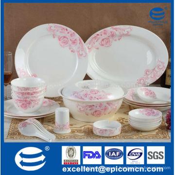 Caja de regalo de embalaje de color rosa rosado nuevo vajilla de cerámica de china conjunto de cena al por mayor