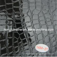 Glossy Black Crocodile Grain Leather for Decorative