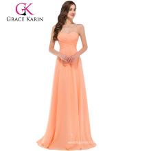 Grace Karin Strapless Sweetheart luz naranja piso longitud simplemente vestido de dama de honor CL3409