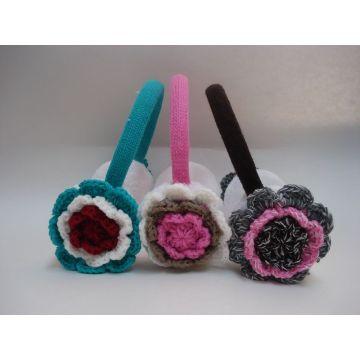 Flowers Design Knitted Earmuff