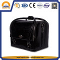 Vanity Black Leather Cosmetic Bag with Straps (HB-6619)