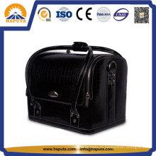 Saco cosmético de vaidade couro preto com tiras (HB-6619)