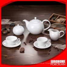 Super llano blanco, etiqueta impresa, personalizada cerámica Bone China porcelana té cafeteras