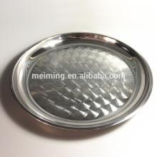 Plato de servir popular de acero inoxidable, bandeja de servir redonda