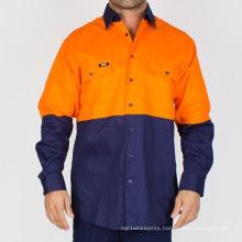 Hi-Vis Two Tone Regular Weight Cotton Drill Shirt