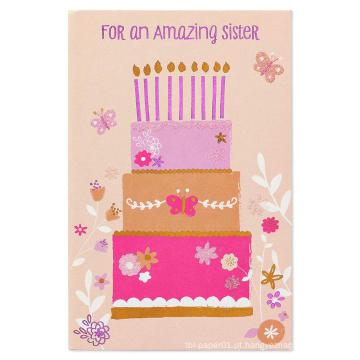 Cartão de convite de flash dos desenhos animados Cartão de convite de aniversário de menina Cartão papel estoque Glitter
