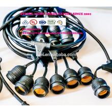 Luces para exteriores resistentes a la intemperie - homologadas por UL - 15 enchufes colgantes - Luces de patio perfectas - Negro - 16 11S14 Incandescente