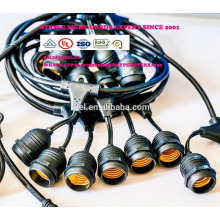 Luzes de corda ao ar livre à prova de intempéries - Listado no UL - 15 soquetes suspensos - Luzes de pátio perfeitas - Preto - 16 11S14 Incandescente