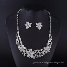 Conjunto de colar de jóias de liga de zinco strass 2016 maple folha de ácer