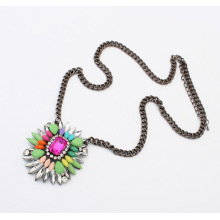 New Designer 2014 Fashion jewelry gun black plate metal resin and acrylic flower Drop Pendant Necklace For Christmas Gifts