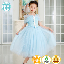 lastest dress long frocks designs split off shoulders cartoon show costume in light blue color for girls princess