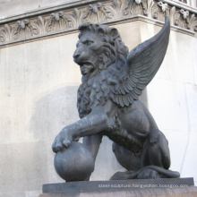 Large outside garden bronze animal winged lion statues for sale