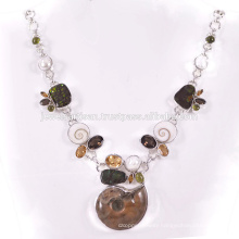 Natural Ammonite And Multi Gemstone 925 Sterling Silver Necklace