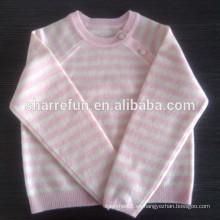 jersey liso de lujo de 12gg Jersey de cachemir de bebé de cuello redondo con botón