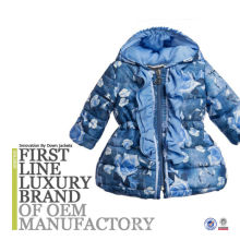 Children Clothing Fashion Blue Printing Girl Padding Jacket