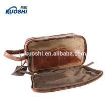 Leather toiletry bag for men