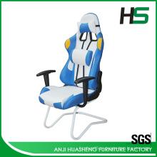 Blanco y azul Cool Tone estilo Racing silla con duraderos brazos