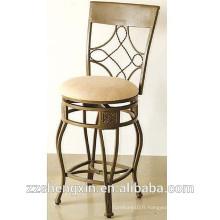 Tabouret de bar tournant Chaise de bar à métal vintage avec dossier