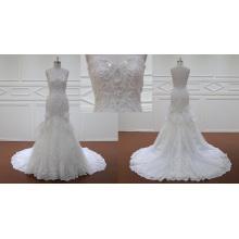 Старый мода Русалка свадебные платья с кружева бант