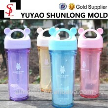New Creative colorful outdoor sports cups cartoon bear head handle double wall plastic water bottle