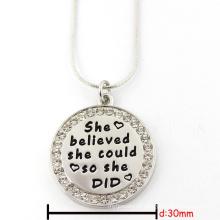 30 milímetros de prata rodada livre gravado personalizado jóias placa de jóias colar