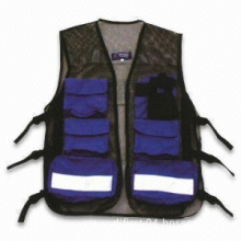 Black 100%Polyester Mesh Reflective Safety Vest