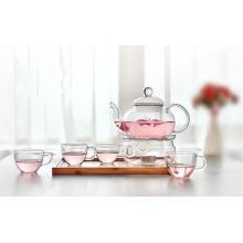 Hoher Borosillikat-Glas-Teekanne mit Set-Teekessel