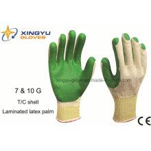 T / C shell laminado de látex luva de trabalho de segurança (S1101)