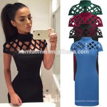 Neue Art und Weise reine Farbe Slim-Line aushöhlen sexy Club Kleid zurück Reißverschluss über Knie Kleid Frauen sexy