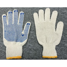 7 Gauge Natural Cotton Blue PVC Dots Glove (SJIE1004)