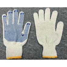 7 калибровочных натуральный хлопок голубой PVC ставит точки перчатка (SJIE1004)