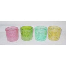 Vaso de vela votiva de cristal de arena / Copa de velas de vidrio