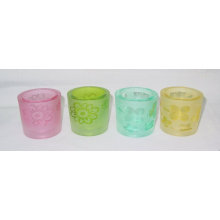 Sandblast Glass Votive Candle Holder/Glass Candle Cup