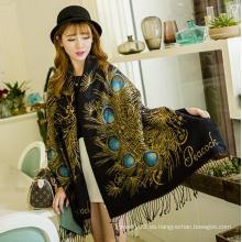 2015 mujeres elegantes de la bufanda de la piel del pavo real de las lanas