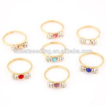 Anel de personalidade doce de diamante bowknot em cores aleatórias