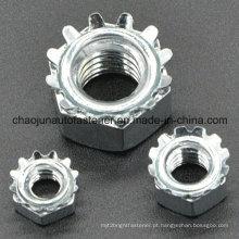 Aço de carbono K-tipo porca de trava com zinco chapeado (CZ092)
