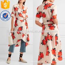 Harness Blumendruck Seide Crepe De Chine Wrap Kleid Herstellung Großhandel Mode Frauen Bekleidung (TA4089D)