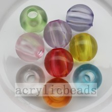 Popular Design for Round Acrylic Beads Transparent frosted round beads with big through hole  export to Panama Supplier