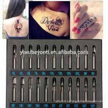 22шт Pro татуировки питания нержавеющей стали наконечника комплекта автомата пистолета набор сопла