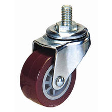 Light Duty Threaded Stem PU Caster (vermelho)