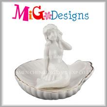 Fabrik-Preis-weißer Meerjungfrau-keramischer Ring-Halter mit Goldlinie