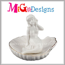 Preço de fábrica suporte de anel de cerâmica sereia branca com linha de ouro