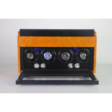 Enrollador de reloj de cuatro rotores con almacenamiento de joyas