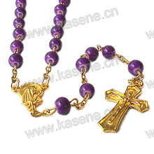 Fast Sale Gold Glass Rosary Necklace with Crucifix Cross