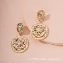 Hot Sales Metal Alloy Animal Lion Heads Design Statement Earrings For Women Fashion Jewelry Hoop Earrings