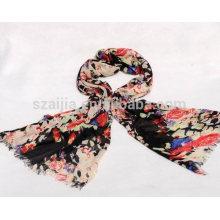 Moda feminina 100 algodão preto impresso cachecol floral
