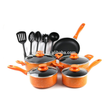 Aluminum 14-Piece Marble Orange Cookware Set- Black Non Stick Interior